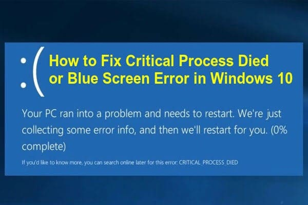 windows critical process died