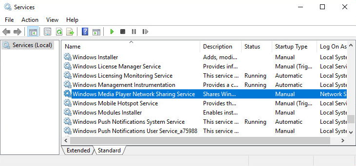 disable wmp network sharing service