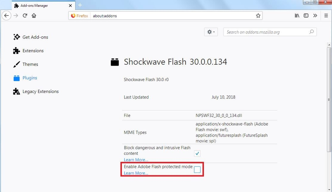 disable flash protected mode