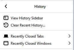 select clear recent history