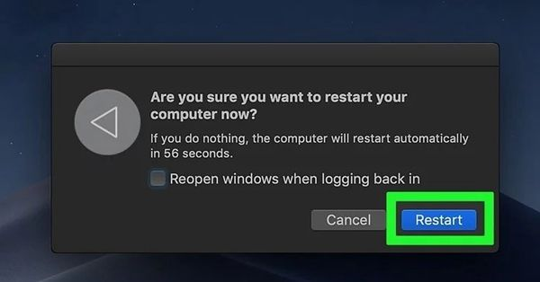 click the restart button on mac