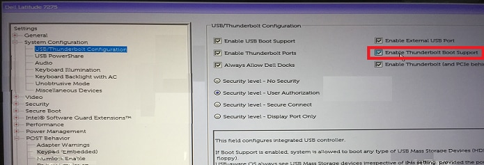 system configuration under settings