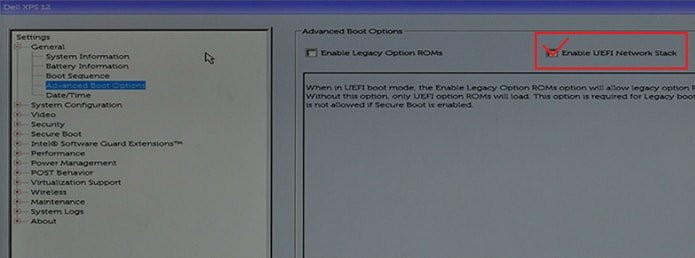 advanced boot settings under general