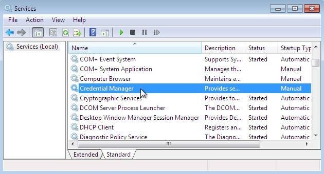 disable credentials manager 7