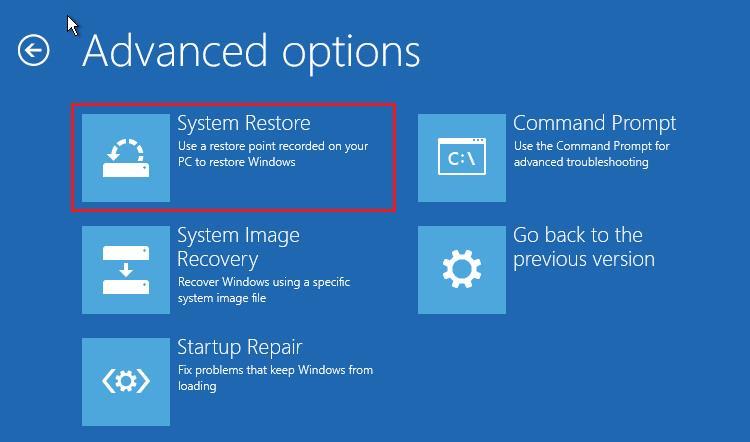 perform system restore 1