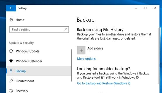 Restore Files from Windows 10