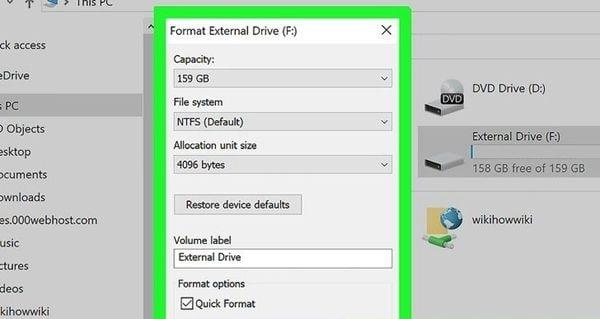 format the external hard disk