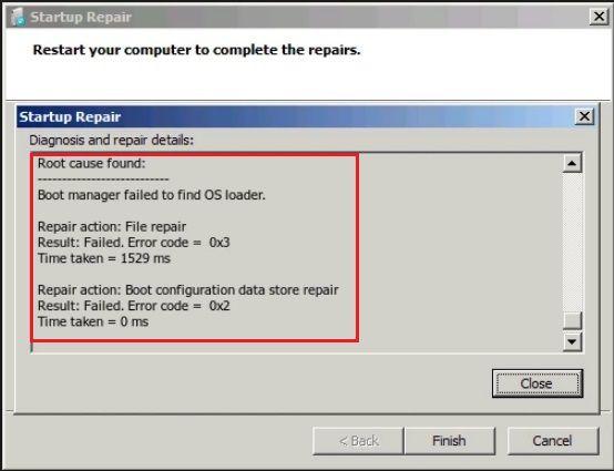 startup repair error