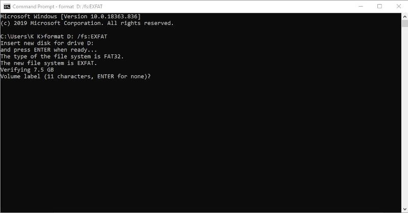 exfat format with command prompt