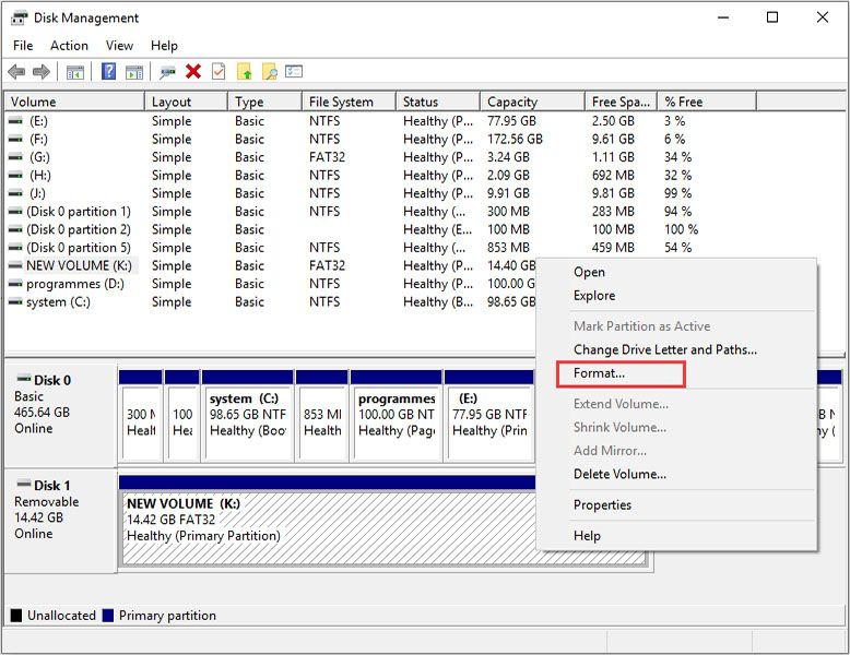 formatting using disk management