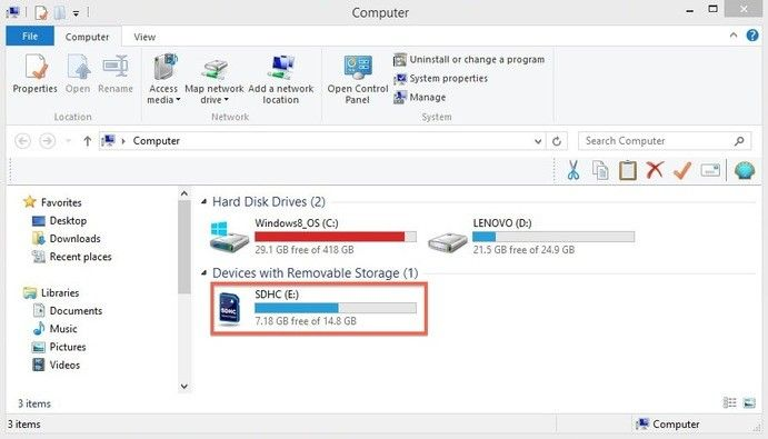 format SD card for canon in windows step 1