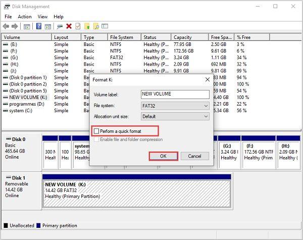 format sd card disk management