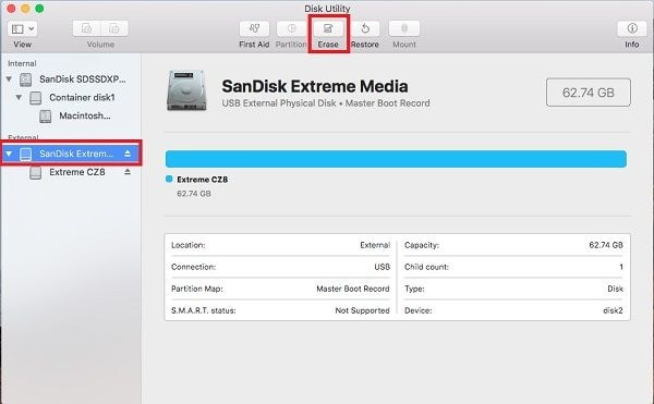 format sd card disk utility