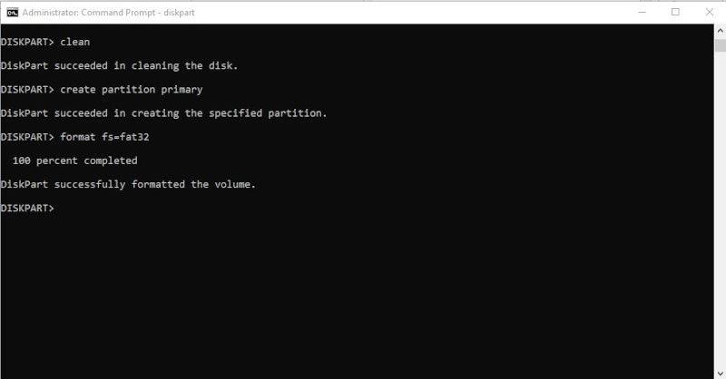 diskpart format command