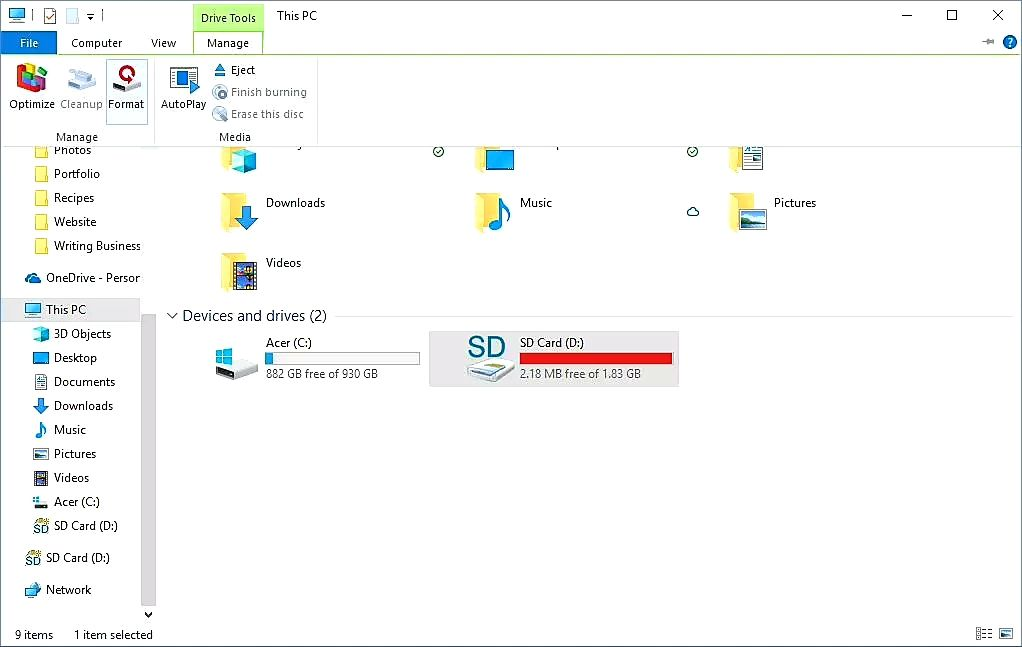 select sd card and click manage at the top left side of your PC