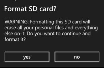 confirm formatting by selecting yes
