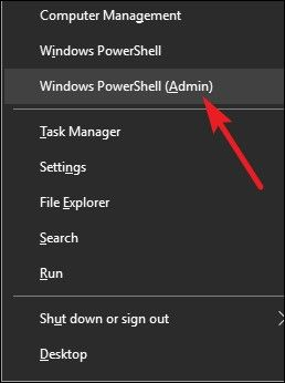 windows + x then click Powershell(admin)
