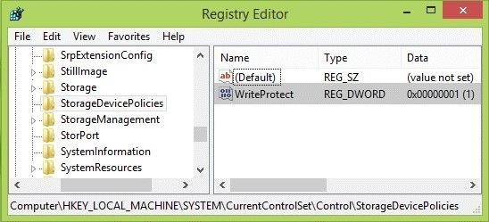 Disable write protection using Registry Editor