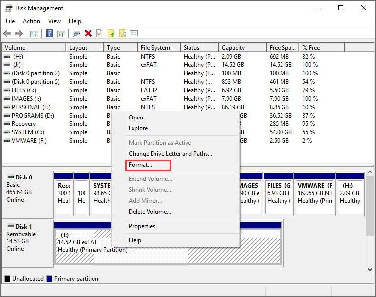 Using Windows disk management to format sdxc to fat32