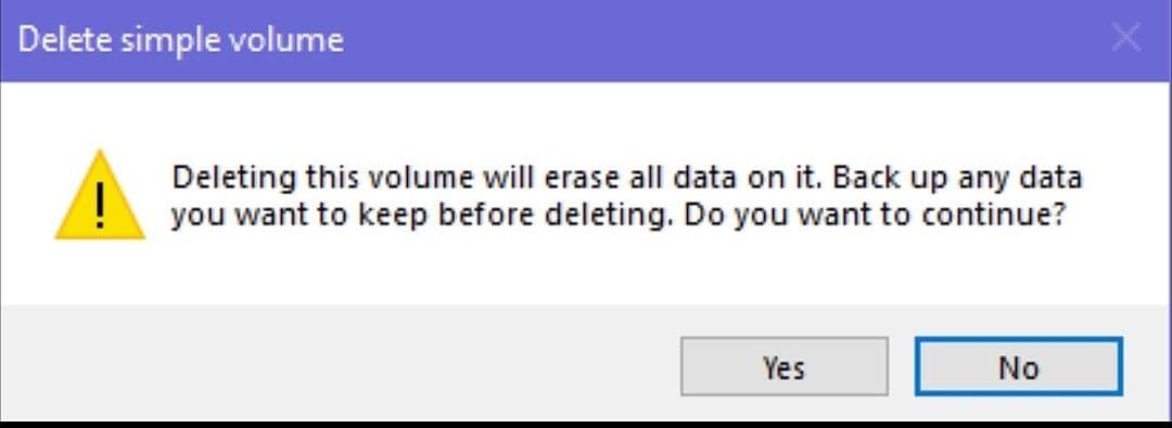 select yes to complete the partition delete process