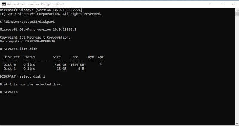 diskpart select disk