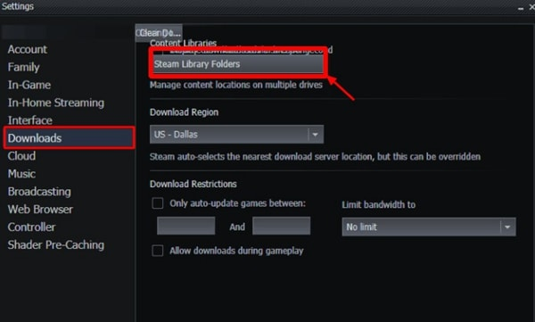 select steam library-folders