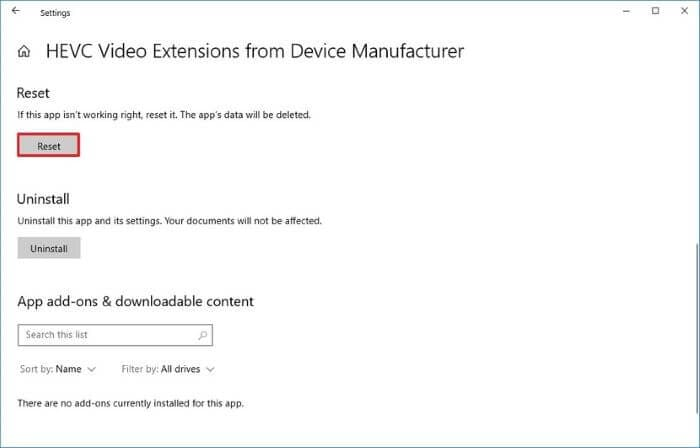 Reset the HEVC extension