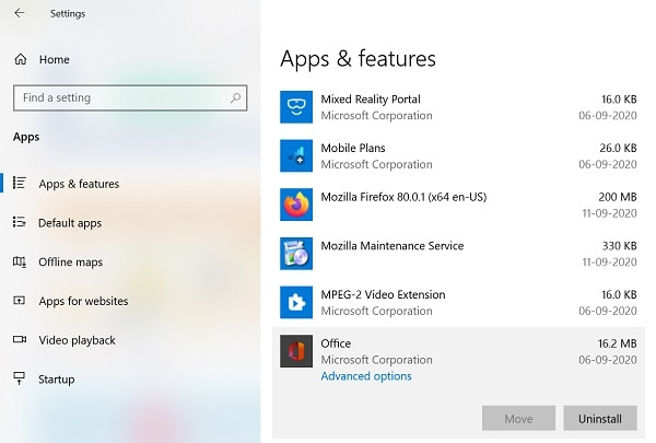 ms office advanced options