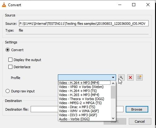 VLC profile options
