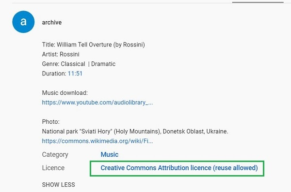 youtube creative commons license