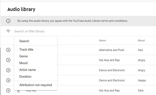 filters in youtube audio library