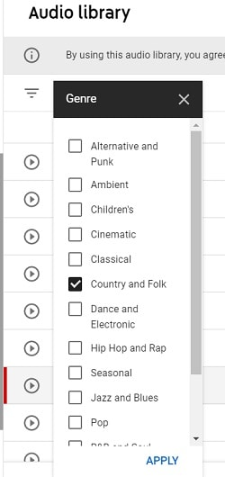 genres in youtube audio library