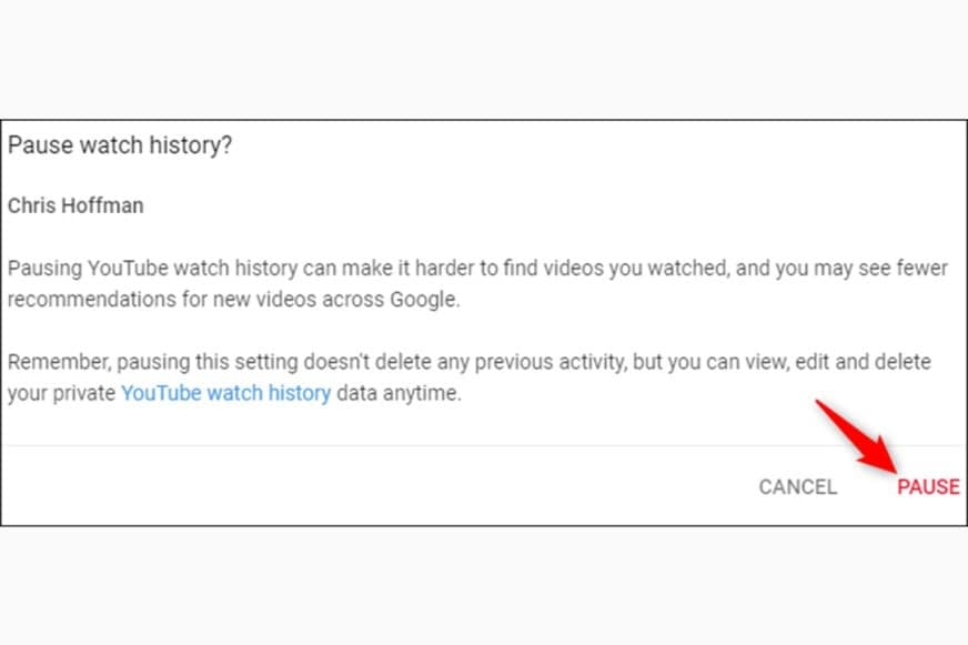 pause history on youtube for incognito