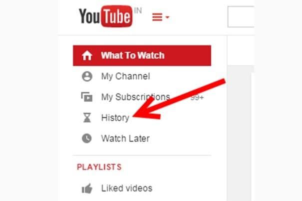 history option on YouTube