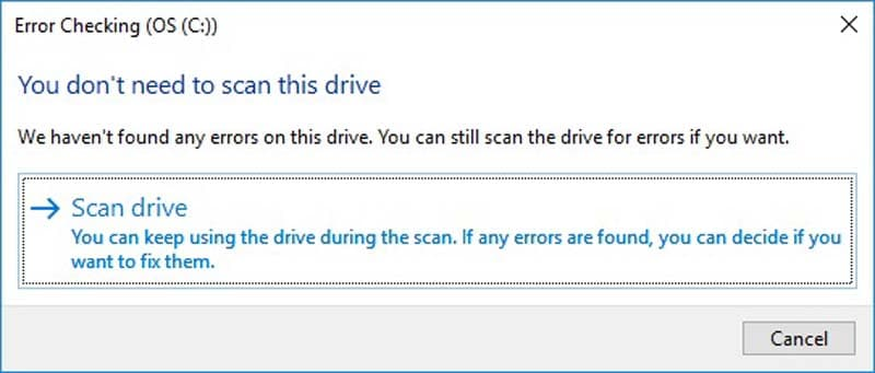 scan your hard drive for errors