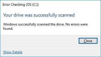 hard drive error checking finished prompt
