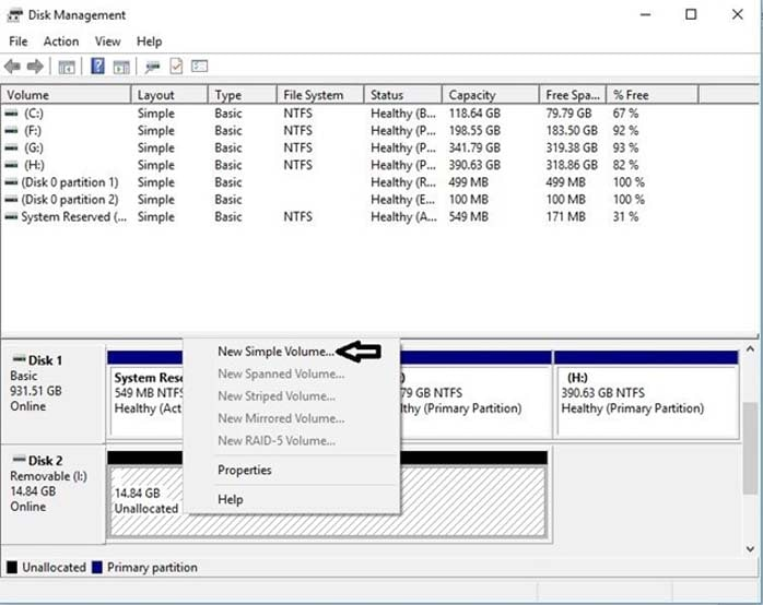 use disk management to manage your hard drive