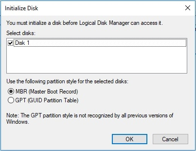 initialize disk to mbr or gpt