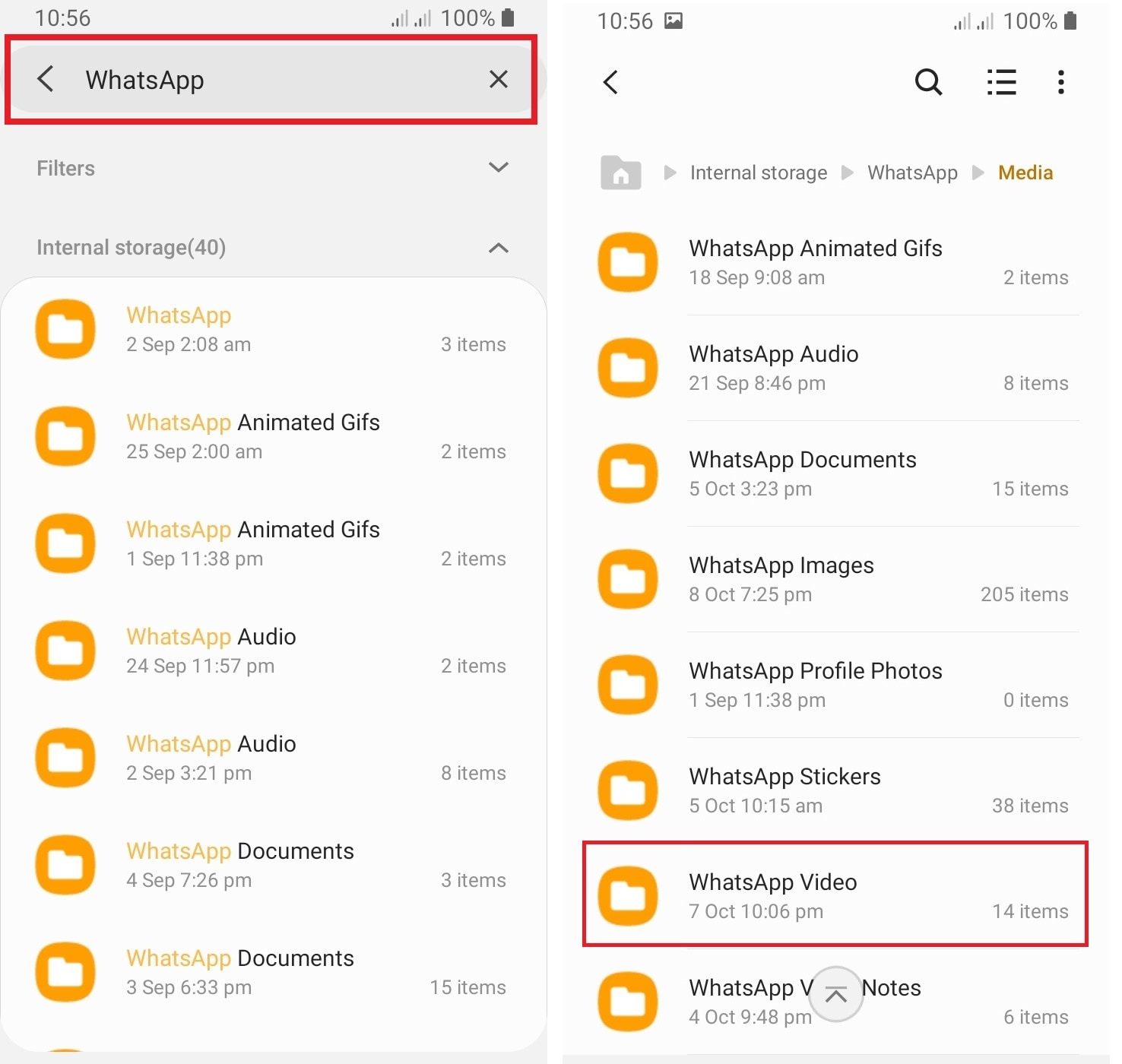 whatsapp folder in phone storage