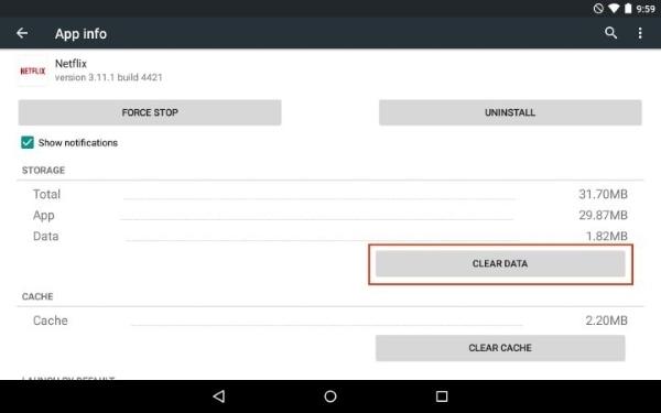 limpar dados do aplicativo netflix