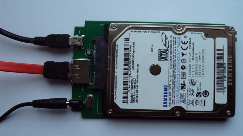 assemble hard drive to disk enclosure