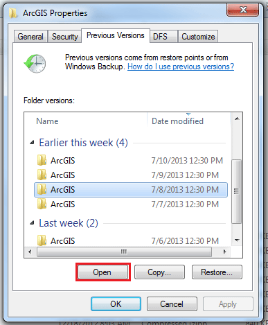 select file version before deletion