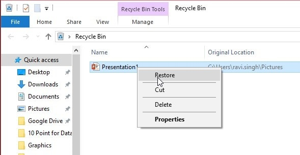 restore from recycle bin of the remote computer