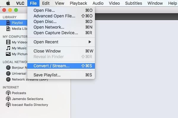 file menu vlc player