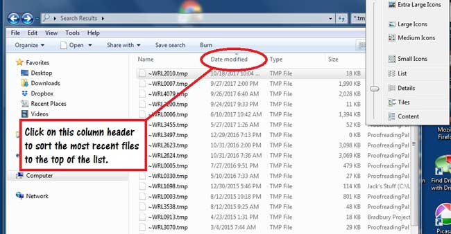 search for tmp file