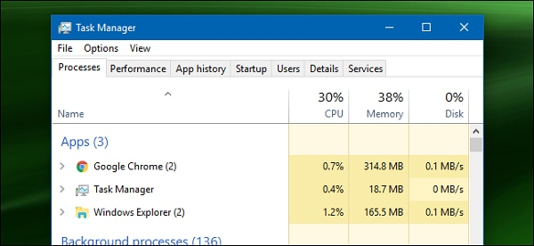 windows task manager screen