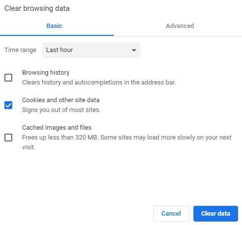 clear your chrome browsing data