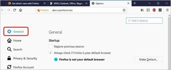 open general settings of firefox to fix youtube problem firefox