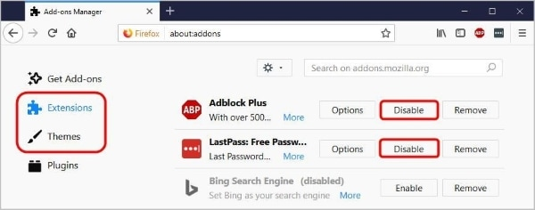 disable firefox extensions