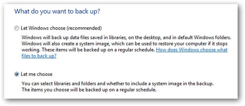 choose the backup location